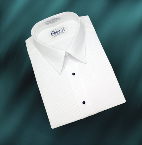 """Boy's tuxedo shirt style B17 is made with 186 T/C 65/35 polycotton fabric with convertible stud front and cuffs. B17 has a laydown collar with a 1/8"""" pleated front."""
