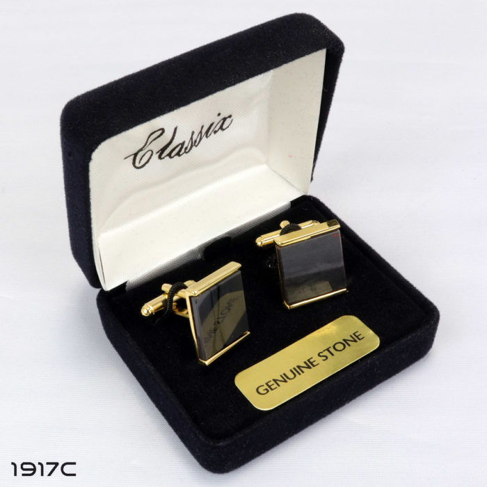 Obsidian Rectangular Cufflink and Stud Set