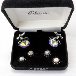 Rainbow Swarovski Crystal Cufflink & Stud Set