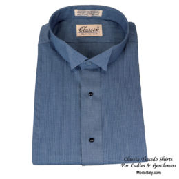Wing Collar Chambray Tuxedo Shirt