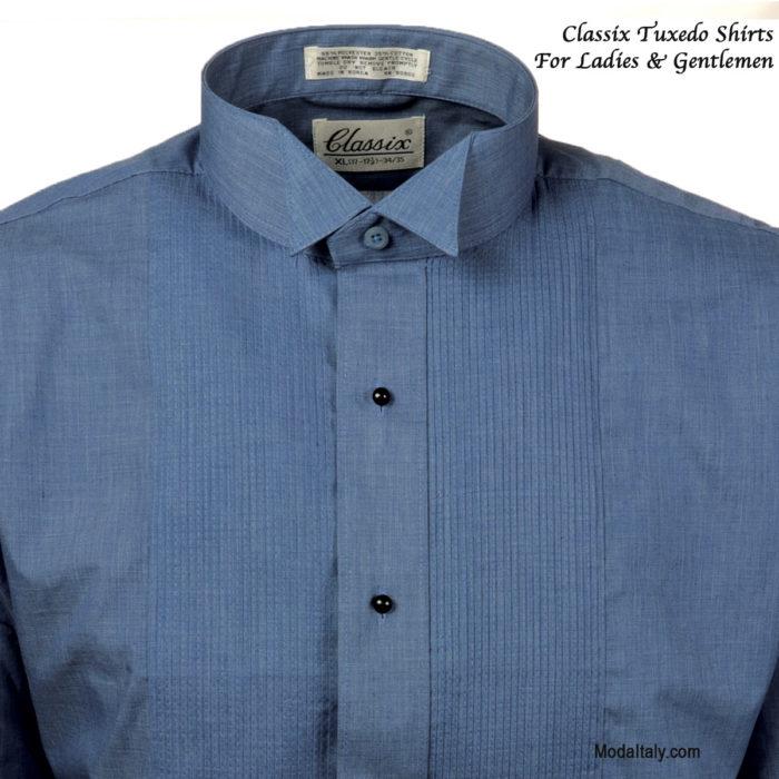 Wing Collar Chambray Tuxedo Shirt