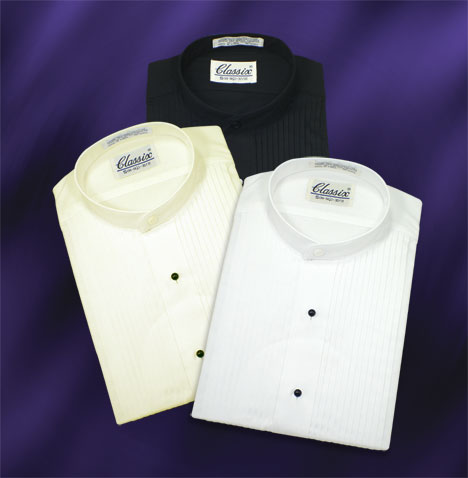 Banded Collar Tuxedo Shirts 3 Colors