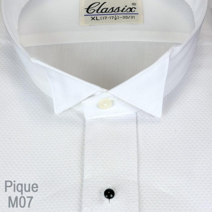 Wing Collar Pique Fabric Tuxedo Shirt
