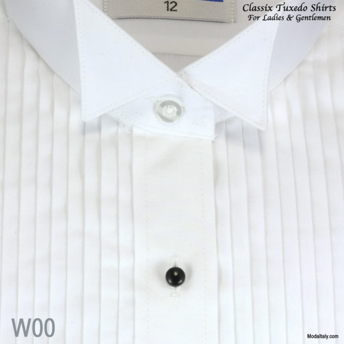 "Women Tuxedo Shirt Wing Collar 1/4"" Pleat"