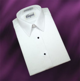 "Women Tuxedo Shirt Laydown Collar 1/4"" Pleat"