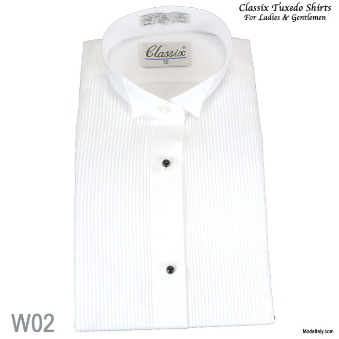 "Women Tuxedo Shirt Wing Collar 1/8"" Pleat"
