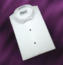 "Women Tuxedo Shirt Wing Collar 1/8"" Pleat"