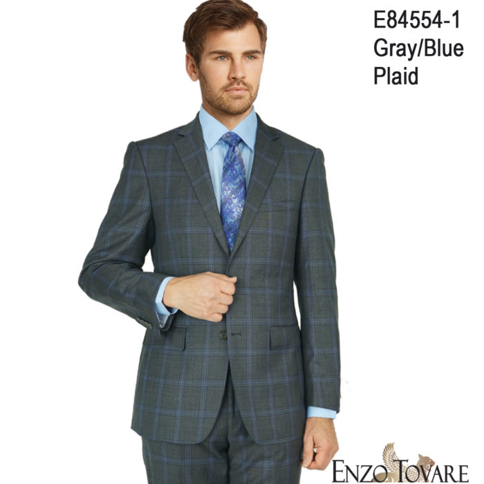 Enzo Gray Blue Plaid Suit