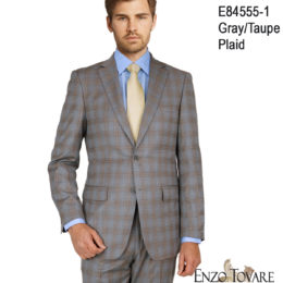 Enzo Gray Taupe plaid suit