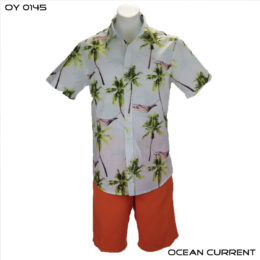 Ocean Current White & Green Palm Hawaiian Shirt