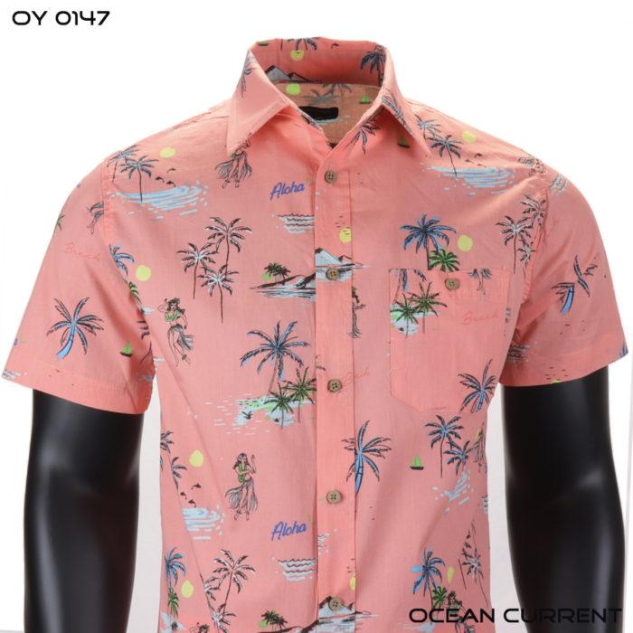 Ocean Current Pink Aloha Palm Hawaiian Shirt