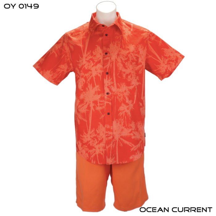 Ocean Current Orange Hawaiian Shirt