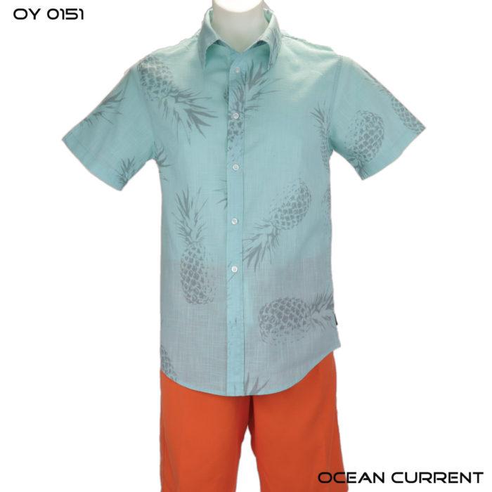 Ocean Current Ski Blue Pineapple Hawaiian Shirt