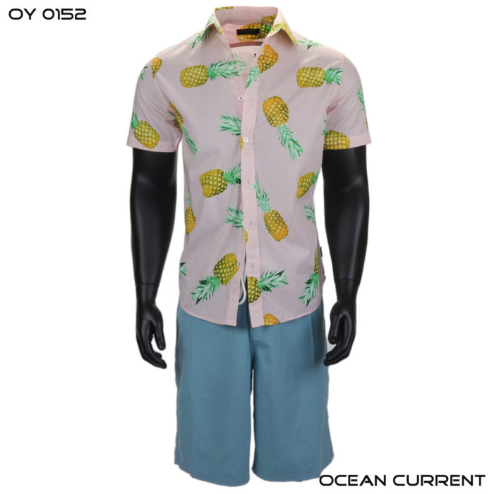 Ocean Current Pink Pineapple Hawaiian Shirt