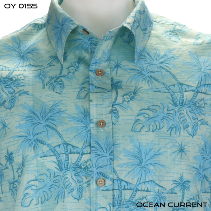 Ocean Current Teal Palm Hawaiian Shirt