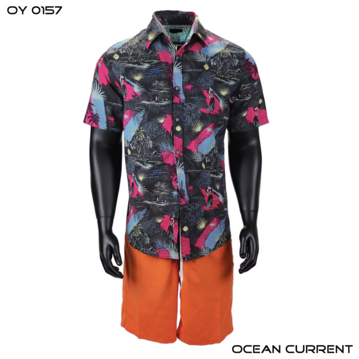 Ocean Current Black Hawaiian Shirt