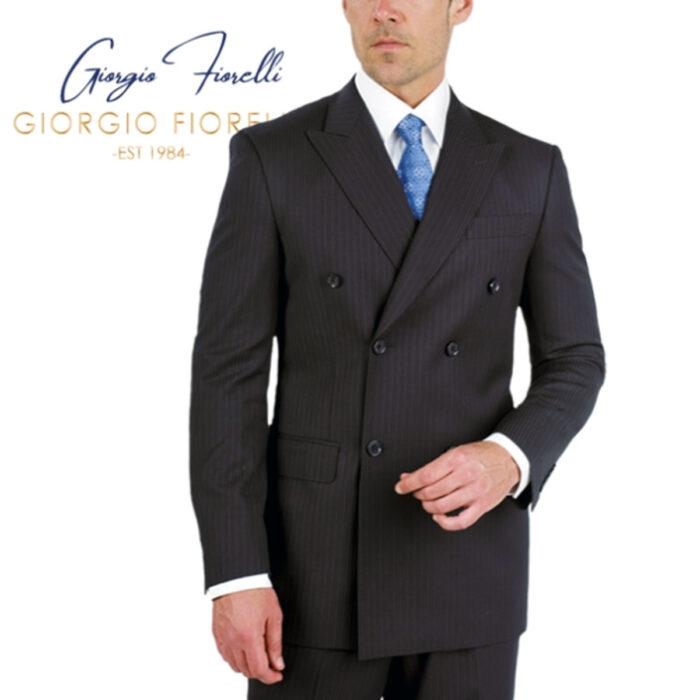 Double-Breast Suit, Black Stripe by Giorgio Fiorelli