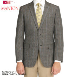 Mantoni Brown Check Plaid Wool Blazer