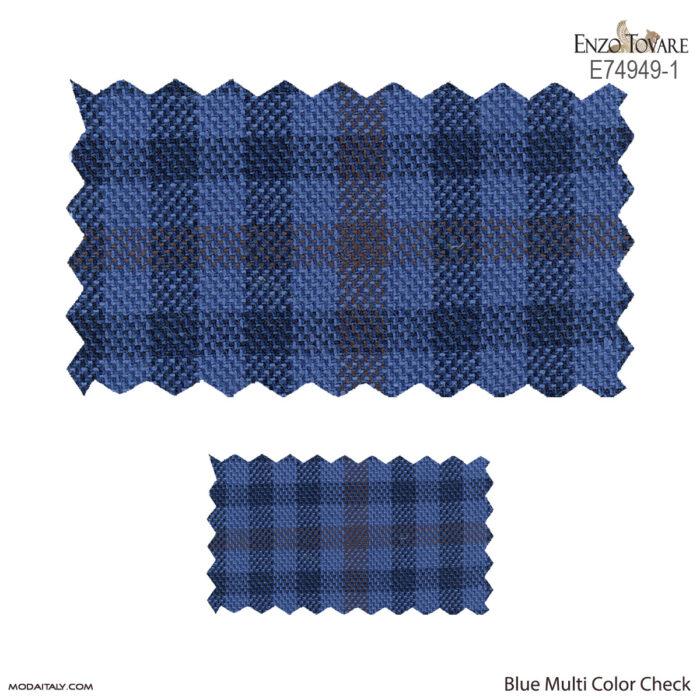 Enzo Tovare Linen Blue Multi Color Check