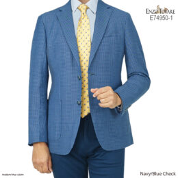 Enzo Tovare Linen Jacket in Navy/Blue Check