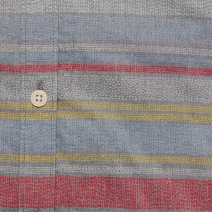 MICROS Woodblock Blue Short Sleeve Shirt Fabric
