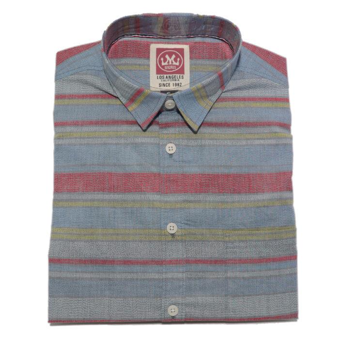 MICROS Woodblock Blue Short Sleeve Shirt