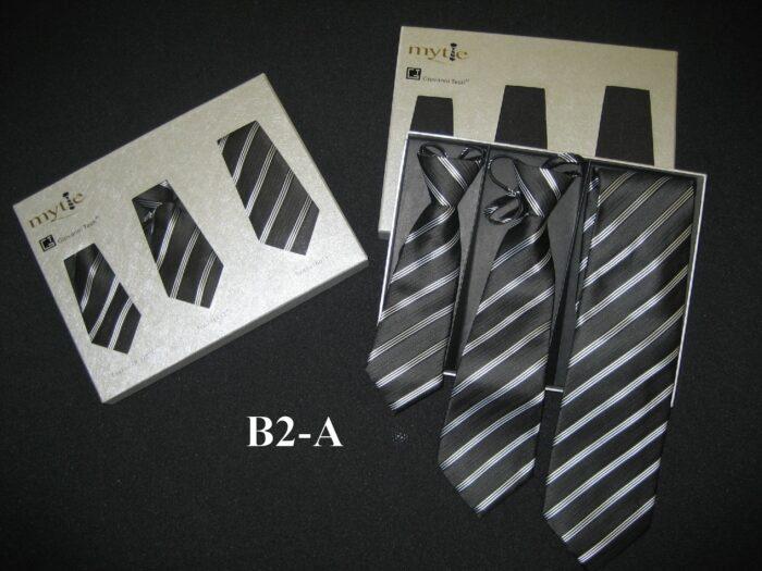 Black & Gray Stripe Father & Sons NeckTies by Giovanni Testi