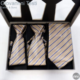 Tan & Blue Stripes Father & Sons NeckTies