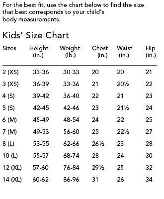 Boys size waist chart