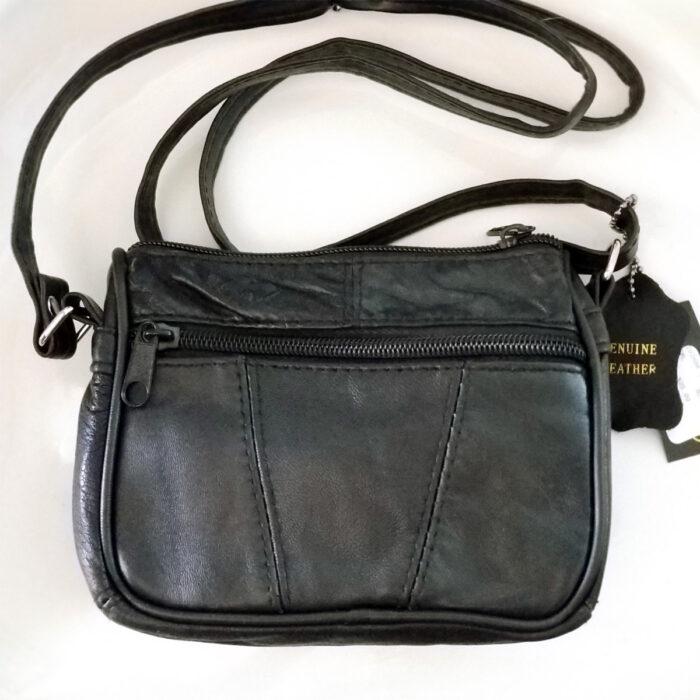 Genuine Black Leather Shoulder Bag. Back View