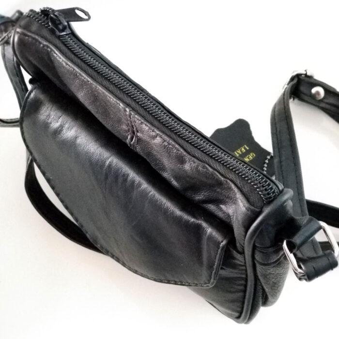Genuine Black Leather Shoulder Bag. Top View