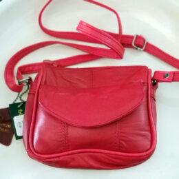 "Genuine Red Leather Shoulder Bag. 5""X6""X1.5"""