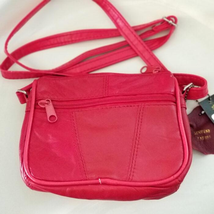 Genuine Red Leather Shoulder Bag. Back View