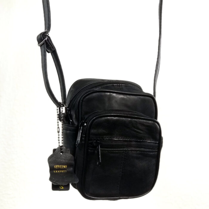 Small Leather Shoulder Bag Zipper Red
