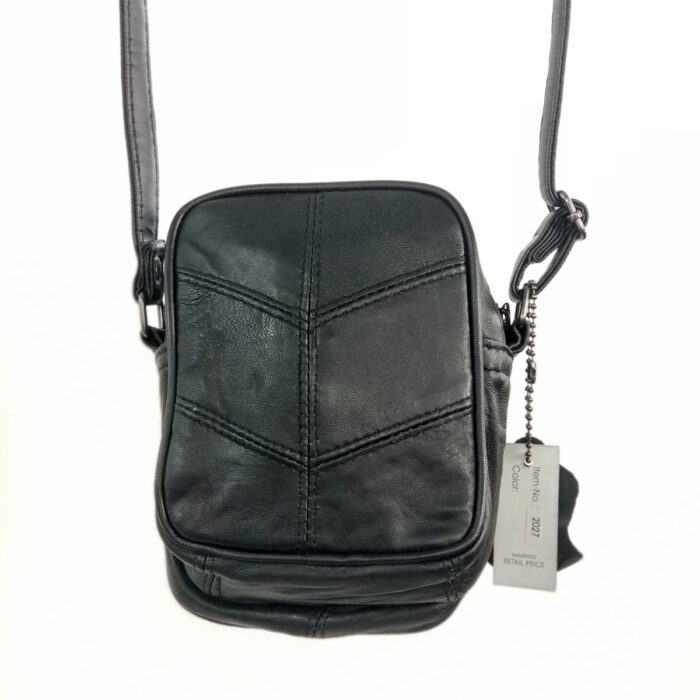 Small Leather Shoulder Bag Zipper Red Back View