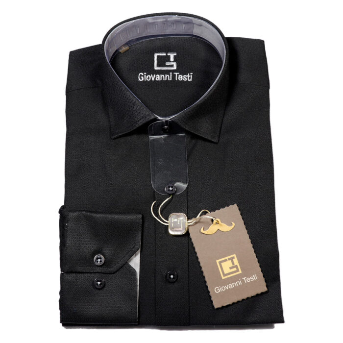 Giovanni Testi Black Laydown Dress Shirt