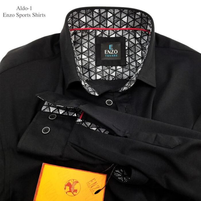 Dino-1 Enzo Knit Black Dress Shirt