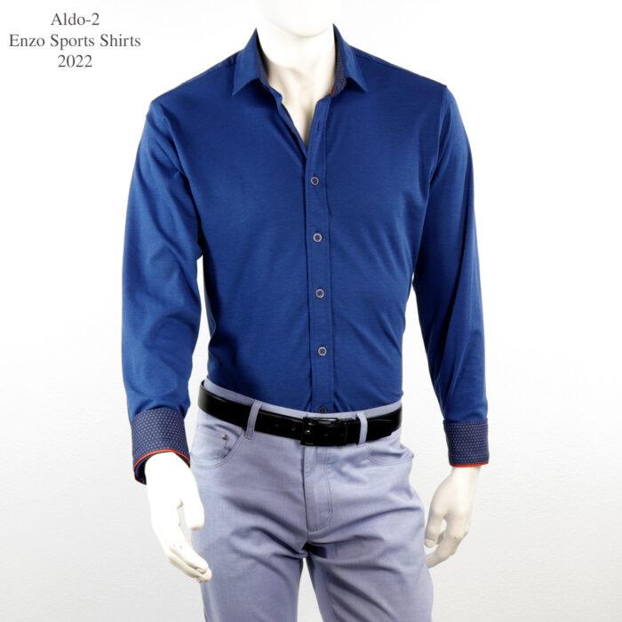 Aldo-2 Enzo Knit Blue Dress Shirt
