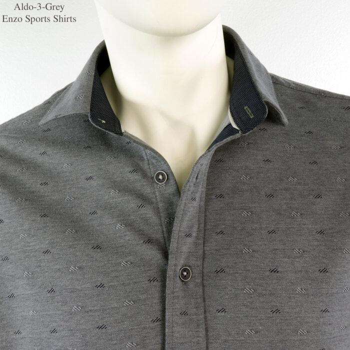 Aldo-3 Enzo Knit Grey Dress Shirt