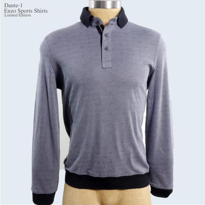 Dante-1 Enzo Long sleeve Polo Shirt Grey