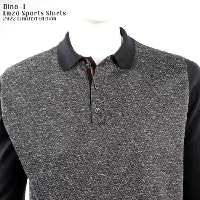 Long sleeve Polo Shirt Grey/Black