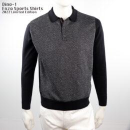 Dino-1 Enzo Long sleeve Polo Shirt Grey/Black