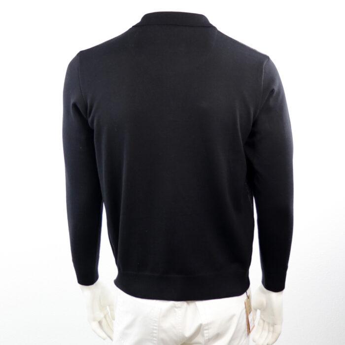 Dino-1 Enzo Long sleeve Polo Shirt Grey/Black Back view